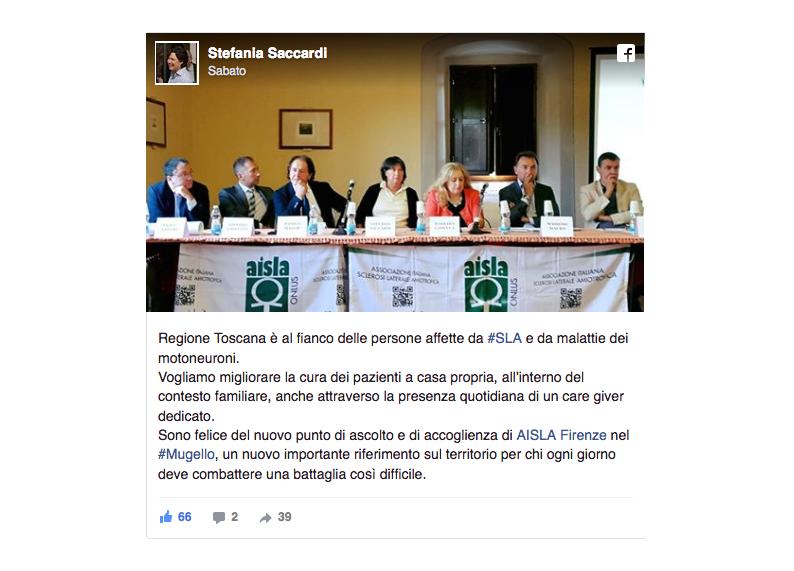 Il post su facebook dell'assessore regionale Saccardi